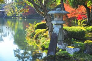 秋の北陸金沢 兼六園ことじ灯籠と霞ヶ池に鴨の写真素材 [FYI04762643]
