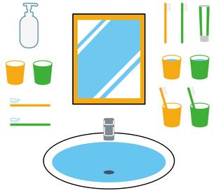 洗面所、歯ブラシ、コップ、鏡、セットのイラスト素材 [FYI04762780]
