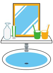 洗面所、歯ブラシ、鏡のイラスト素材 [FYI04762781]