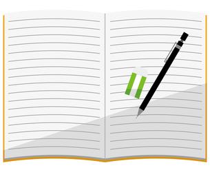 開いているノート、シャープペンシル、消しゴムのイラスト素材 [FYI04762798]