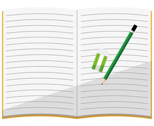 開いているノート、鉛筆、消しゴムのイラスト素材 [FYI04762799]
