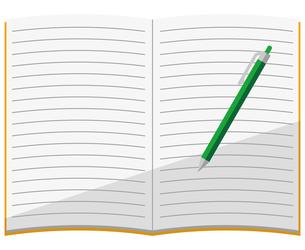 開いているノート、ボールペンのイラスト素材 [FYI04762800]