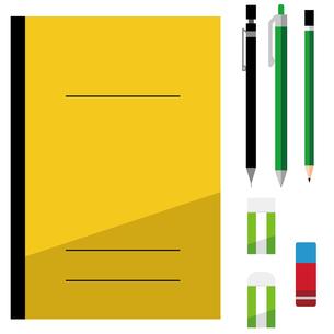 ノート、シャープペンシル、ボールペン、鉛筆、消しゴム、文房具、セットのイラスト素材 [FYI04762804]