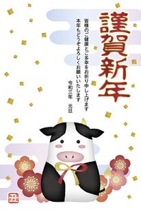 年賀状2021 丑と梅の花と紙吹雪 賀詞添え書きのイラスト素材 [FYI04762860]