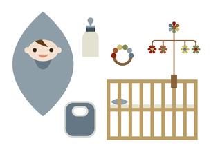 赤ちゃんとベビーグッズ イラストのイラスト素材 [FYI04762869]
