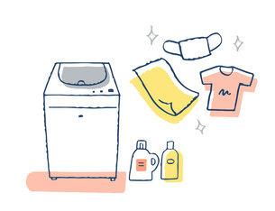 洗濯機と洗剤と衣類のイラスト素材 [FYI04763125]