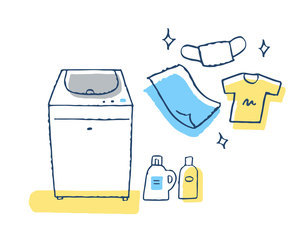 洗濯機と洗剤と衣類のイラスト素材 [FYI04763127]