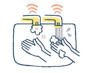 自動センサー式蛇口 手洗いのイラスト素材 [FYI04763138]