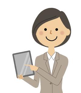 タブレットを持つスーツの女性のイラスト素材 [FYI04763202]