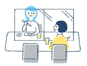 感染症予防対策 アクリル板による飛沫感染防止 飲食店のイラスト素材 [FYI04763332]