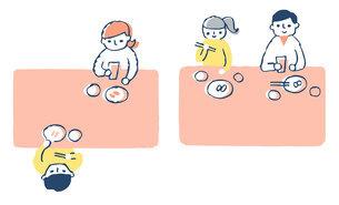 感染症予防対策 飲食時の座り方2パターンのイラスト素材 [FYI04763333]