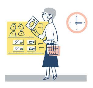 オフピークショッピング スーパーマーケットで買い物をする女性のイラスト素材 [FYI04763336]