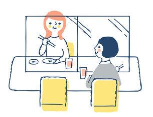 感染症予防対策 アクリル板による飛沫感染防止 飲食店のイラスト素材 [FYI04763338]