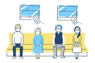 感染症予防対策 電車内で一定の間隔を空けて座る人々のイラスト素材 [FYI04763339]
