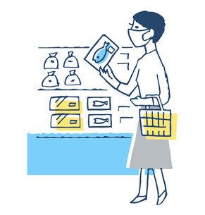 マスクをしてスーパーマーケットで買い物をする女性のイラスト素材 [FYI04763340]