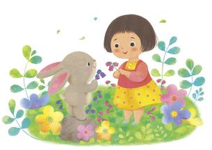 女の子とうさぎが花を摘んでいるイラストのイラスト素材 [FYI04763639]