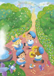 動物と子供が公園で音楽を奏でているイラストのイラスト素材 [FYI04763642]