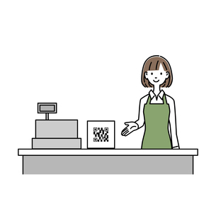 QRコードの案内をする女性レジ店員 イラストのイラスト素材 [FYI04763646]