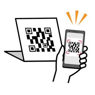 スマートフォンでQRコードを読み取っている イラストのイラスト素材 [FYI04763647]