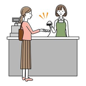 レジでQRコード決済をする女性 イラストのイラスト素材 [FYI04763648]