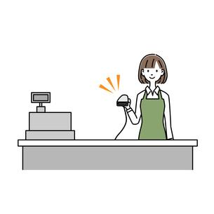 女性レジ店員 バーコードリーダーを持っている イラストのイラスト素材 [FYI04763649]