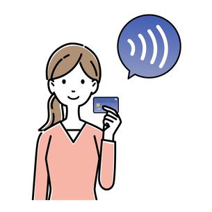 タッチ決済(非接触決済)のマークが付いているクレジットカードを持つ女性のイラスト素材 [FYI04763652]