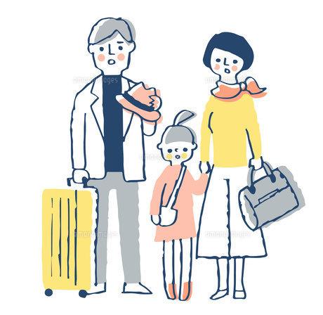 困った表情の家族 家族旅行のイラスト素材 [FYI04763716]