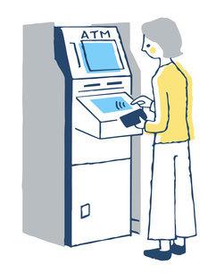 ATMを操作する女性のイラスト素材 [FYI04763719]