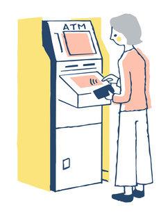 ATMを操作する女性のイラスト素材 [FYI04763720]