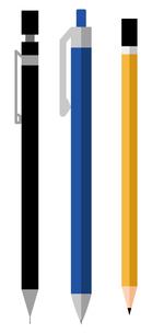 シャープペンシル、ボールペン、鉛筆、筆記用具、セットのイラスト素材 [FYI04763767]