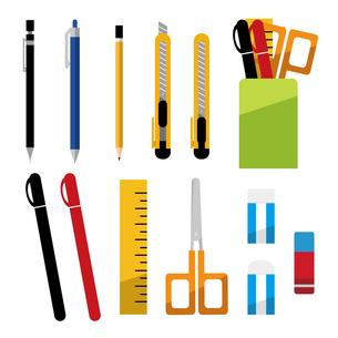 シャープペンシル、ボールペン、鉛筆、カッターナイフ、ペン立て、ペン、定規、ハサミ、消しゴム、文房具のイラスト素材 [FYI04763771]