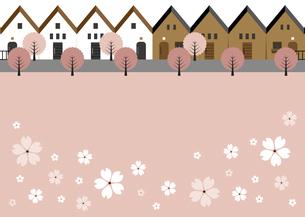 桜並木のある住宅街 イラストのイラスト素材 [FYI04763794]