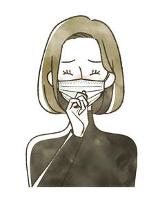 咳・くしゃみをしている女性-マスクのイラスト素材 [FYI04763811]