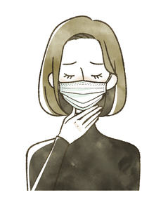 喉が痛む女性-マスクのイラスト素材 [FYI04763813]