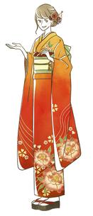振袖を着た女性のイラスト素材 [FYI04763847]