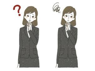 スーツの女性-疑問・もやもやのイラスト素材 [FYI04763862]