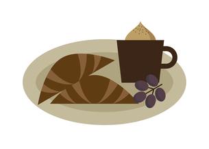 コーヒーとクロワッサン イラストのイラスト素材 [FYI04763867]