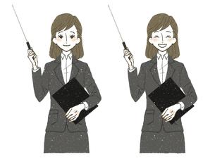 スーツの女性-指示棒-笑顔のイラスト素材 [FYI04764029]