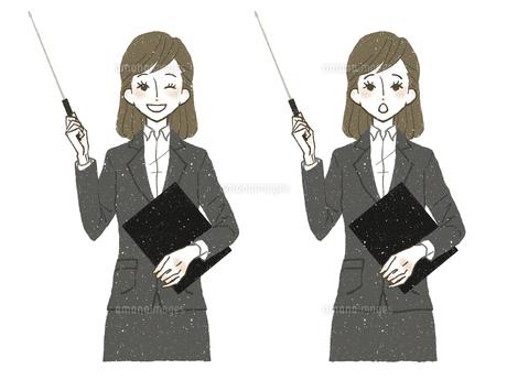 スーツの女性-指示棒のイラスト素材 [FYI04764030]