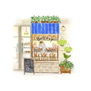 街中の小さなパン屋さんのイラスト素材 [FYI04764097]