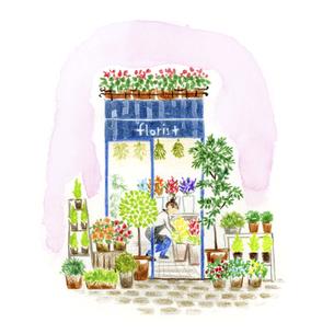 街角の小さな花屋さんのイラスト素材 [FYI04764098]