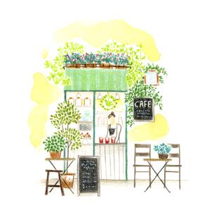 街中の小さなオープンカフェのイラスト素材 [FYI04764099]