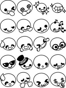 キュートな表情の顔文字アイコン ー喜びと笑顔ーのイラスト素材 [FYI04764233]