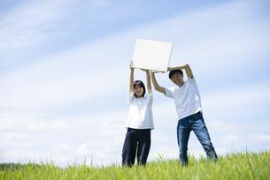草原でホワイトボードを持つカップルの写真素材 [FYI04764440]