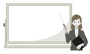 スーツの女性-ホワイトボード-解説・ポイントのイラスト素材 [FYI04764484]