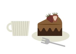 チョコレートケーキと飲み物のイラスト素材 [FYI04765103]