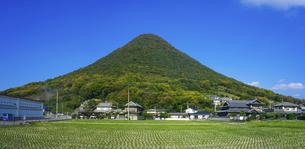 青空に映える「讃岐富士」こと讃岐七富士の一つ飯野山の写真素材 [FYI04765138]