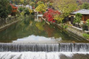 紅葉の嵐山と桂川の写真素材 [FYI04765330]