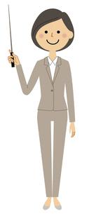 指し棒を持つスーツの女性のイラスト素材 [FYI04765354]