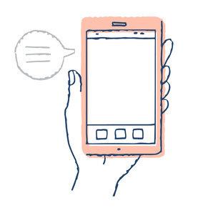 スマートフォンと手 テキストスペース ふきだしのイラスト素材 [FYI04765698]